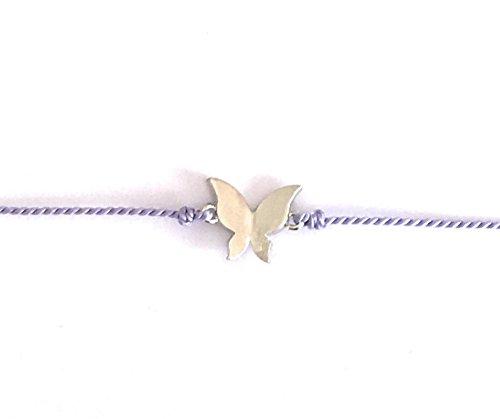 MINT Wunschkarte Butterfly Schmetterling Armband Silk silber violet lila Freundschaftsarmband Make a Wish (Armband Schmetterling)