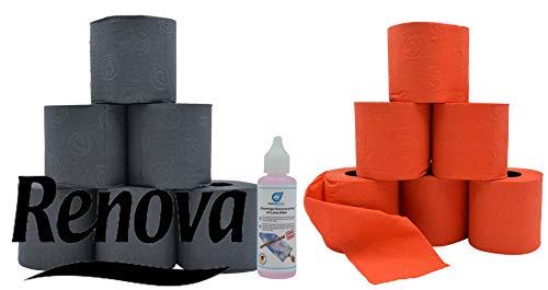 Farbiges schwarzes und rotes Luxus Klopapier Toilettenpapier von Renova mit Test Glas - Reiniger von Kaiserrein