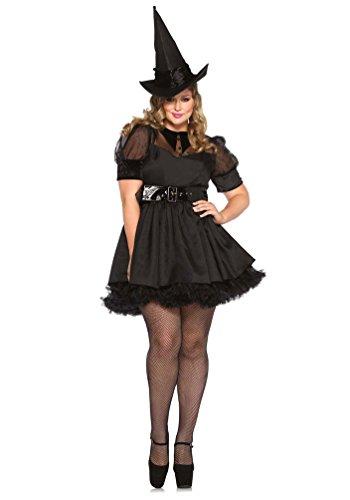 Karneval-Klamotten Hexenkostüm-e für Damen schwarz kurz Halloween Damen-Kostüm inkl. Hexenhut Plus Size Größe ()