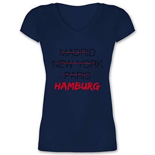 Städte - Weltstadt Hamburg - XL - Dunkelblau - XO1525 - Damen T-Shirt mit V-Ausschnitt