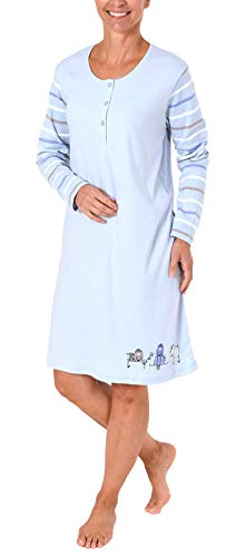 NORMANN WÄSCHEFABRIK Damen Interlock Nachthemd mit süssem Hunde Motiv - auch in Übergrössen - 281 213 96 226, Farbe:hellblau, Größe2:44/46