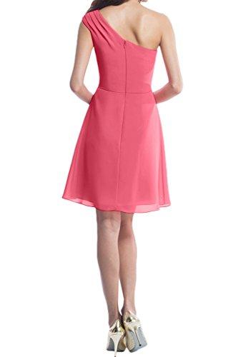 Missdressy Einfach Chiffon Kurz Ein-Schulter Brautjunfernkleid Ballkleid Partykleid Cocktaikleid Wassermelone