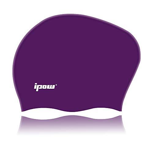 Ipow cuffia da nuoto cuffia piscina in silicone di alta qualità atossico particelle antiscivolo proteggi i capelli adatto perfetto per capelli lunghi per uomo e donna (viola scuro)