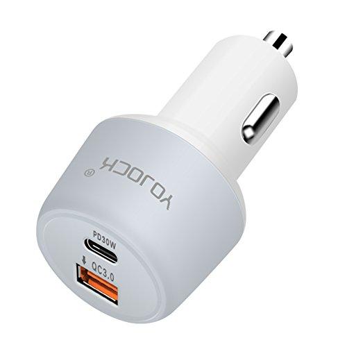 USB-C Autoladegerät Typ C Kfz Ladegerät mit Power Delivery 30W 29W 27W Typ C Auto Ladegerät Quick Charge 3.0 18W Dual USB für Macbook, Nintendo Switch, Samsung Galaxy S8/ S7, LG G5/ V20, Pixel C, Huawei Mate 10/ P20, ZenFone 3 und mehr
