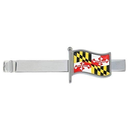 Maryland gewellte Flagge rhodiniert clip-krawatte in Geschenkbox (Clip Maryland)
