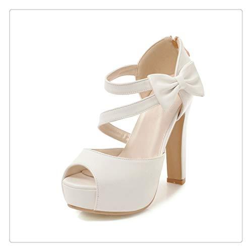 happy&live New Large Size 31-43 Princess Style Summer Shoes Sandals Women Fashion High Heels Platform Party Wedding Sandal Woman White 9.5 - Naturalizer Ankle Strap Sandalen