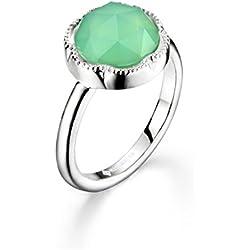 Anillo compromiso plata y gema verde