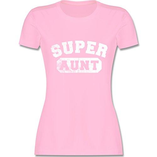 Shirtracer Schwester & Tante - Super Aunt - Vintage-&Collegestil - Damen T-Shirt Rundhals Rosa