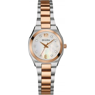 Bulova Diamond Gallery Women's Quartz Watch with Mother of Pearl Dial Analogue Display and Two Tone Stainless Steel Bracelet