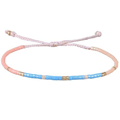 KELITCH Rosa Mix Muschelperlen Wicklen Armband Neu Mädchen Freundschaft  Schmuck Armreifen (Blau) ebba70fa90