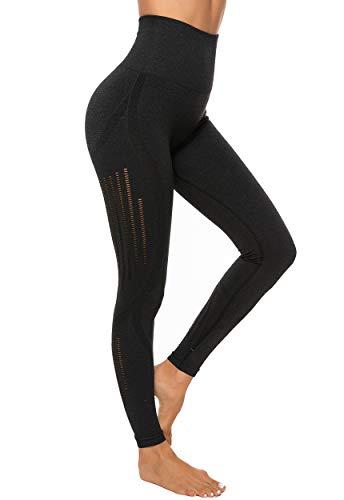 INSTINNCT Legging Sport Femme Sexy Pantalon Yoga Confortable Elastique Taille Haute Collant Basique sans Couture Amincissant,Noir,L