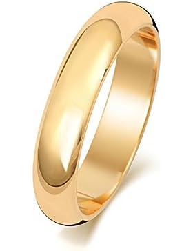 9 Karat (375) Gold 4mm D-Form Herren/Damen - Trauring/Ehering/Hochzeitsring
