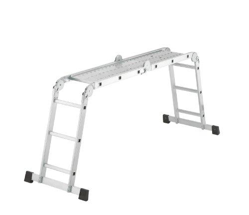 Hailo ProfiStep combi, Alu-Universalleiter, 4x3 Sprossen, Arbeitsbühne, Anlege- und Stehleiter in einem, belastbar bis 150 kg, 7412-037