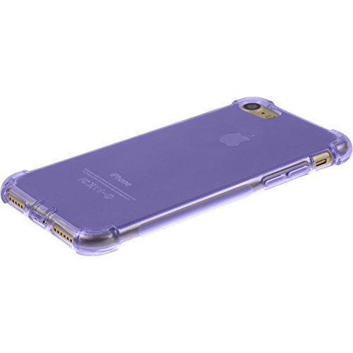 PhoneNatic Case für Apple iPhone 7 Hülle Silikon clear Shock-Proof Cover iPhone 7 Tasche + 2 Schutzfolien Lila