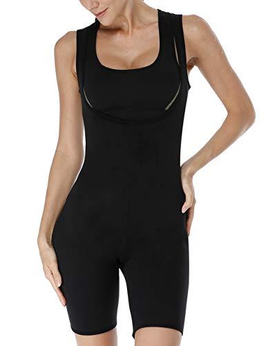 NonEcho Sauna-Ganzkörper-Bodysuit, figurformend, figurformend, für Gewichtsverlust, Gymnastik, Sport, Aerobic, Boxen, MMA, Damen, Without Zipper(Black), L(Check Left Size Picture) -