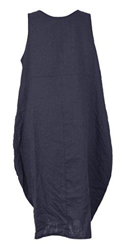 Mesdames Womens Lagenlook italienne excentrique sans manches 2 bouton sangle 2 Pocket tunique longue lin robe taille UK 10-14 Marine
