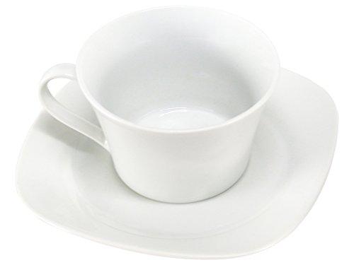 Home Service de Tasses à Thé avec Assiettes, Faience, Blanc, 4 pièces