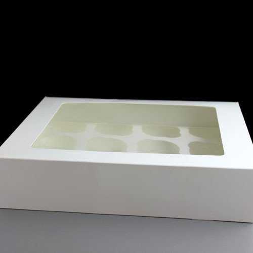 Welshpac - 12 Cavity White Cupcake Boxes - 100