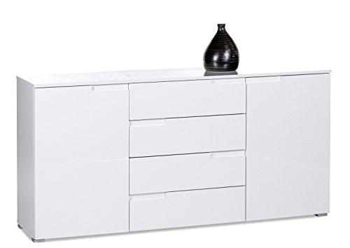 AVANTI TRENDSTORE - Spice - Kommode mit 2 Türen, Hochglanz weiß, ca. 165x80x40cm