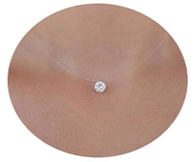Collier Invisible Fil Nylon Peche Ras De Cou Strass Diamant Swarovski & Argent 925