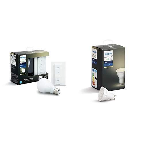 Philips Hue White Wireless Dimming Kit, E27 LED Lampe inkl. Dimmschalter, dimmbar, warmweißes Licht & Philips Hue White GU10 LED 1-er Spot, dimmbar, warmweißes Licht