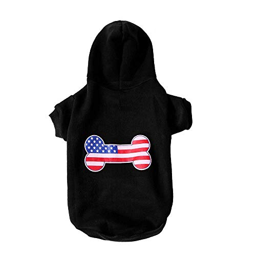 JSMeet Sweatshirts Pet Sweatshirts, Puppy Dog Cat Winter Warm Hooded Bone Print Pullover Shirt Appar (Black) -