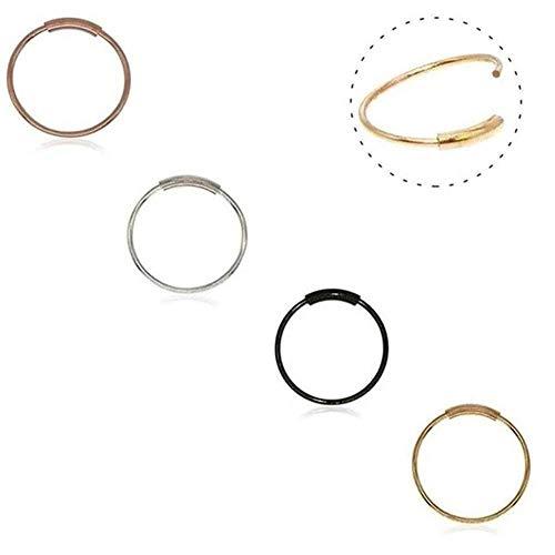 Septum Ring, 316L chirurgischer Stahl nahtlose kontinuierliche Hoop Ringe Nase Tragus Lip Ohr Piercing 4 Farben 20 Gauge 8MM, 10MM (1PCS - 10mm Silber) (4PCS - 8mm Mischungs-Farbe) - Dünne Mischung