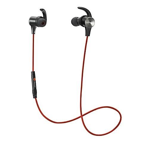 TaoTronics Bluetooth Kopfhörer 4.1 In Ear Ohrhörer Stereo mit Mikrofon, magnetische Headset AptX IPX5 Wasserschutz für Smartphone Handy iOS 6 6S Plus 5S 5 5C Android Galaxy S6 Edge S5 S4 Mini Rot