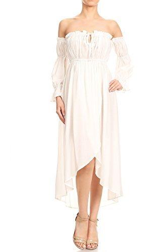 Anna-Kaci Frauen Vintag Boho Schulterfrei Langarm Geschmückt Renaissance - Steampunk Kleid Weiss