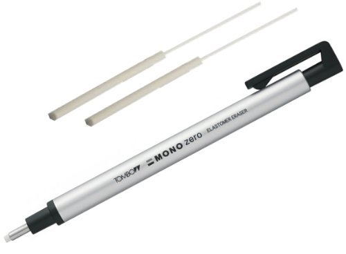 Tombow Mono Zero Eraser with Extra Refill (Silver)