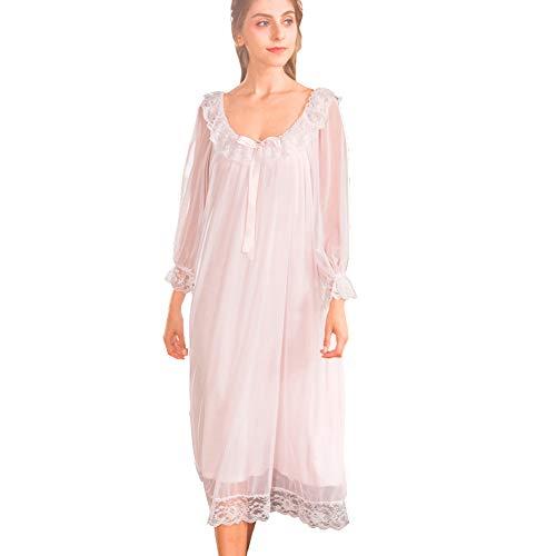 Damen Kleid Nachthemd Langarm Spitze Vintage Viktorianischen Stil Nachthemd Sweet Loose Comfort Langen Rock Nachtwäsche