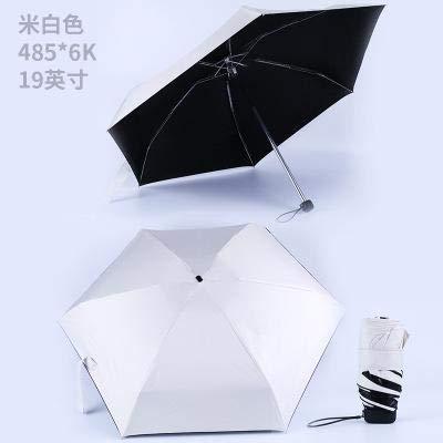 SQYSHOP Der Neue Mini-Taschenschirm der neuen tragbaren Männer verhindert regenfestes Falten der Damen kleine fünf Falten Sonnenschirm Freies Sale cremefarben