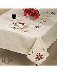 Lenox French Perle Weihnachtsstern bestickt Design Weihnachten Platzdeckchen-Set von 4, Mlt, 102 -