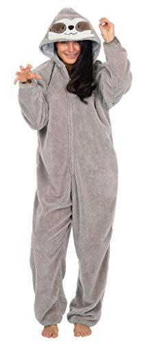 CityComfort Pyjama Onesie Für Damen Lang Tier Cosplay Kostüme aus Fleece Damen Einhorn Schlafanzug Jumpsuit Overalls Onesie Kostüm Fasching Karneval Kostüm Für Erwachsene (M, Faultier)