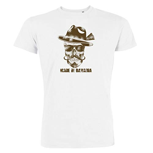 Trachten T-Shirt Herren Made IN Bavaria Bayrischer Totenkopf Bio-Baumwolle Oktoberfest-Shirt Wiesn Österreich Weiss-Braun L