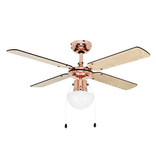 MiniSun - Ventilador de techo con luz - tamaño grande para frío y calor - faro con 4 aspas reversibles...