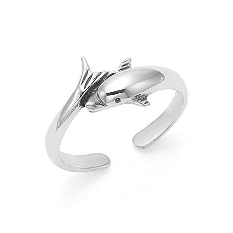 Sterling Silber Dolphin Zehenring - verstellbar - 8 mm an der breitesten Stelle . Geschenkbox