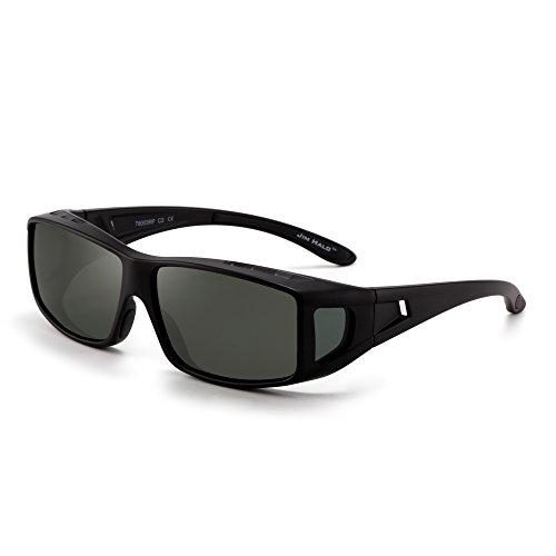 JIM HALO Fit Over Polarisiert Sonnenbrille Überziehen Nacht fahren Brille Damen Herren(Schwarz/Polarisiertes Grün)