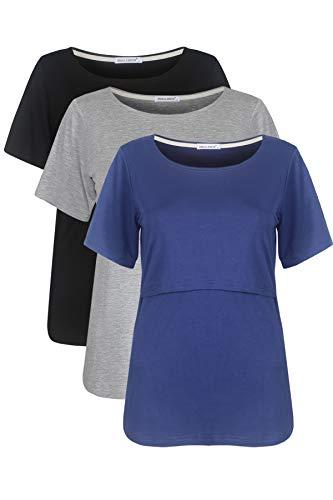 Smallshow Stillshirt Umstandstop T-shirt Umstandsmode Umstandsshirt Schwangerschaft Kleidung Mutterschafts Kurzarm Shirt 3er-pack,Schwarz/Grau/Tiefblau,S