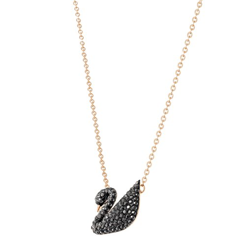 Swarovski Women's Rose Gold Plating and Black Crystal Iconic Swan Necklace Pendant Img 4 Zoom