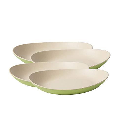 BIOZOYG Hochwertiges Bambus Teller Set I Kinderteller Kuchenteller Snackschale Servierteller I Bio Bambus Geschirr I 4 x ovale Speiseteller Melamin Natur weiß/grün, 22,5 x 19 cm