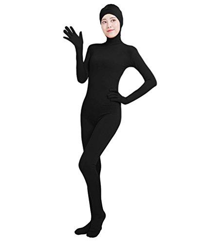 NiSeng Erwachsener und Kind Ganzkörperanzug Breathable Catsuit Face Offene Anzug Suit Kostüm Schwarz - Silber Unitard Kostüm