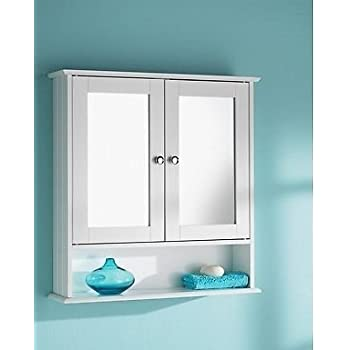 HK: Double Door Mirrorr With Shelf Wooden Bathroom Cabinet 56CM X13CM X 58CM