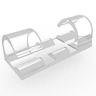 XIAOXI Selbstklebend Kabelschellen/Kabel-clips, Schwarz, 40 Stück Kabelhalter für Haus, Büro, Auto, PC. Anbringen an Wand oder Schreibtisch für Kabelmanagement (Transparent)