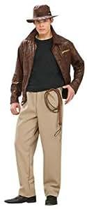 Costume Officiel Indiana Jones version Deluxe - Veste, Pantalon, Chapeau & Fouet - pour Adulte - Taille Extra Large