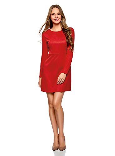 oodji Ultra Damen Langarm-Kleid in Wildlederoptik, Rot, DE 32 / EU 34 / XXS