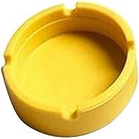 haodou Posacenere Forma Rotonda ad alta temperatura della Tolleranza Custodia Gel Posacenere facile da lavare Posacenere Verde 8.3*8.3*2.3cm Giallo