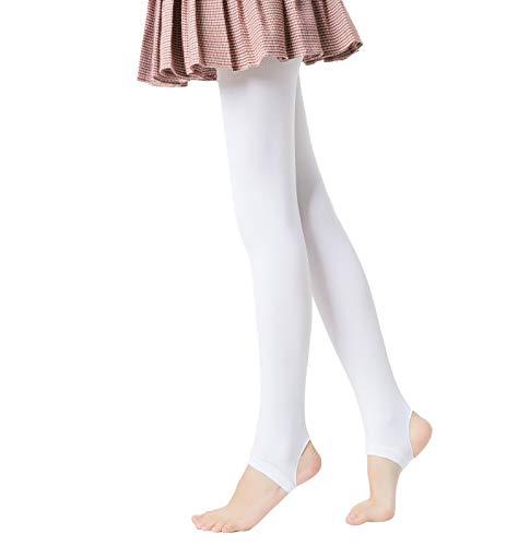 Mädchen Weich blickdichte Steigbügel Tanz Strumpfhose,80 DEN (8-10, Weiß)