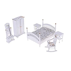 Fenteer 6pcs 1:12 Puppenhaus Miniaturmöbel Schlafzimmer Zubehör Set, Inkl. Mini Bett, Kleiderschrank, Schminkspiegel, Nachttisch und Sessel Möbel Set - B