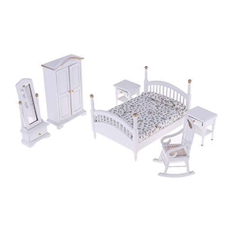 Fenteer 6pcs 1:12 Puppenhaus Miniaturmöbel Schlafzimmer Zubehör Set, Inkl. Mini Bett, Kleiderschrank, Schminkspiegel, Nachttisch und Sessel Möbel Set - B - Schlafzimmer-möbel-zubehör